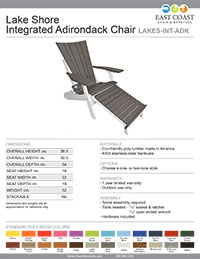 Lake Shore Integrated Adirondack Chair