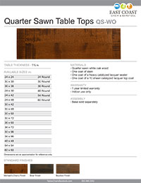 Quarter Sawn Wood Table Top