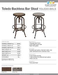 Toledo Backless Bar Stool Specifications
