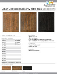 Urban Distressed Economy Wood Table Top