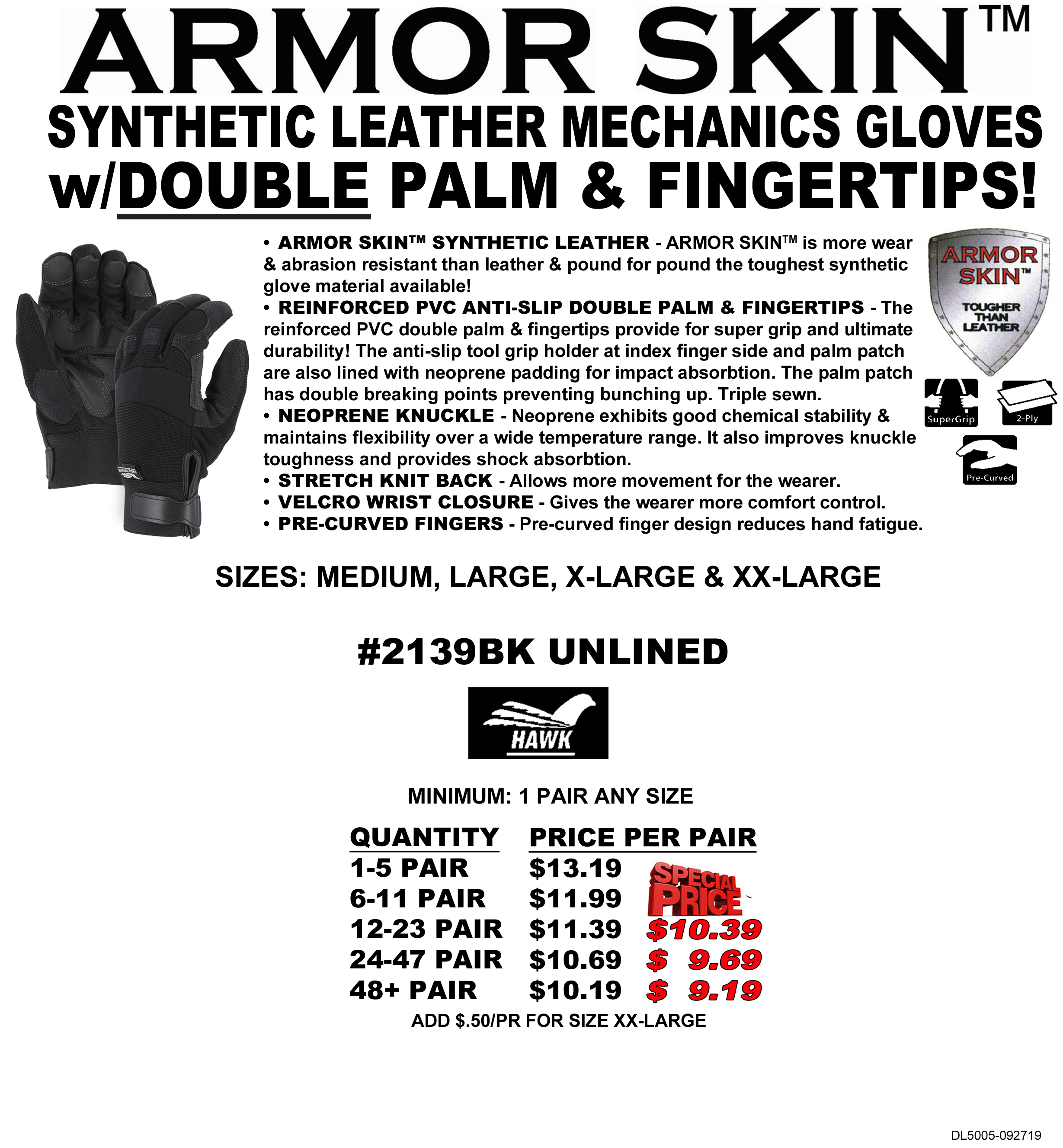 2139bk Armor Skin Hawk Synthetic Leather Mechanics Gloves With
