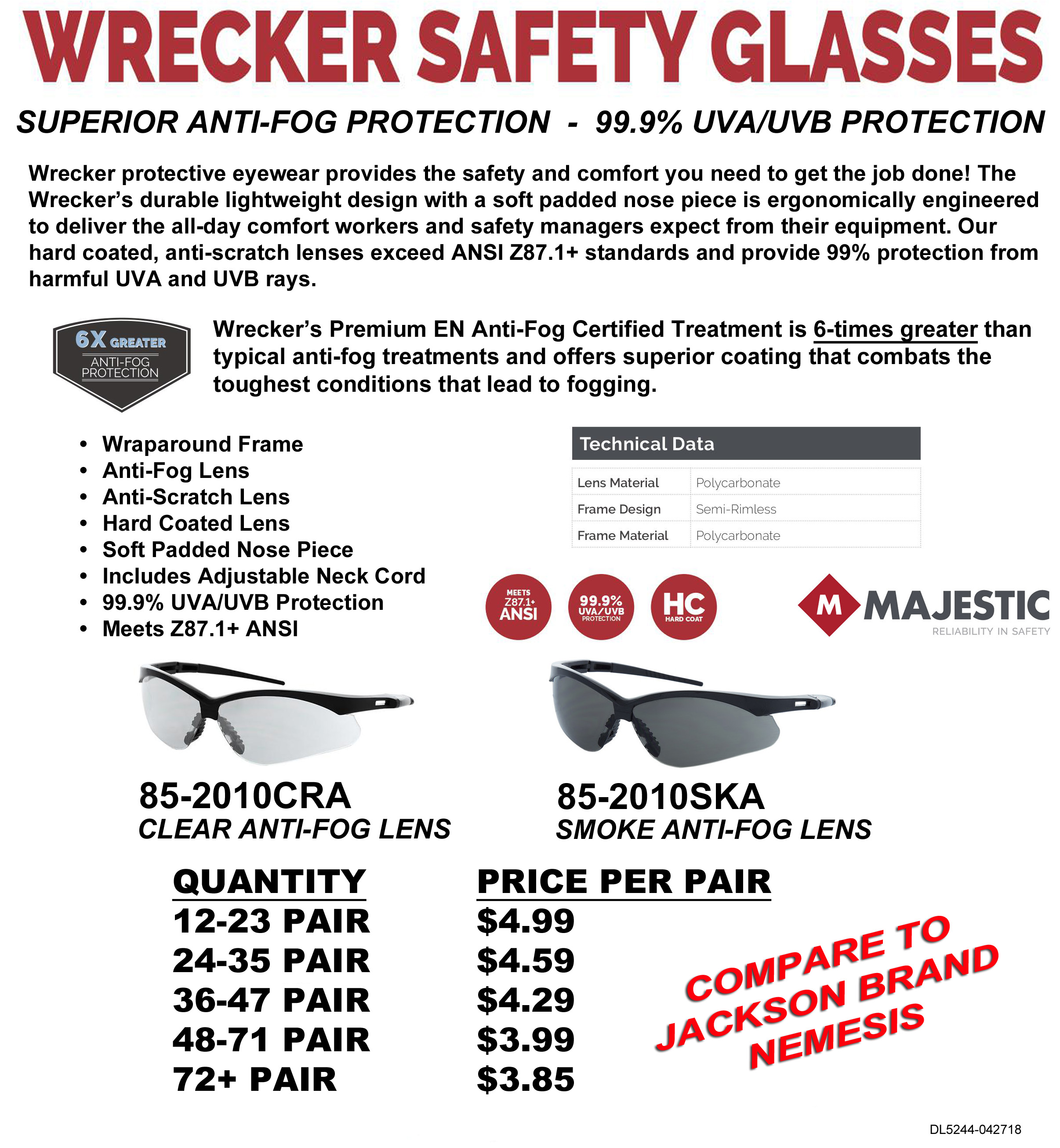 85-2010 WRECKER SAFETY GLASSES