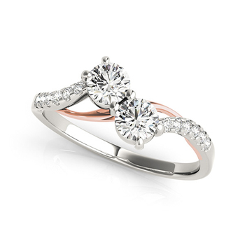 14k White and Rose Gold Two Stone Diamond Ring