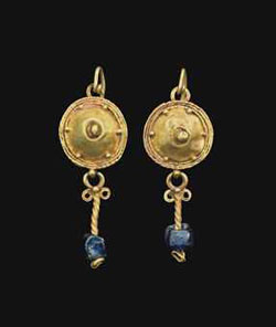 Ancient Roman Blue Glass & Gold Earrings