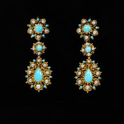 Gold & Turquoise Earrings from 1835