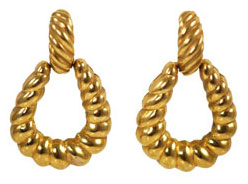 1980s Door Knocker Gold Earrings