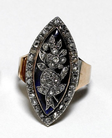 Georgian diamond, gold and silver ring