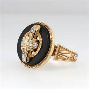 Victorian gold, diamond and onyx mourning ring