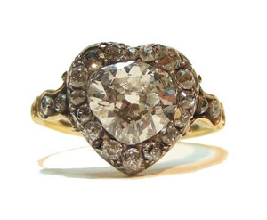 Antique heart cut diamond ring