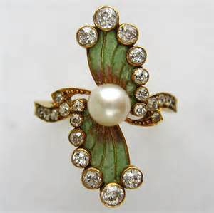 Art Nouveau pearl, enamel and diamond ring