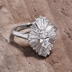 Ballerina ring with marquise diamond
