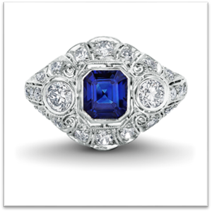 Edwardian platinum ring with a superb Asscher cut sapphire
