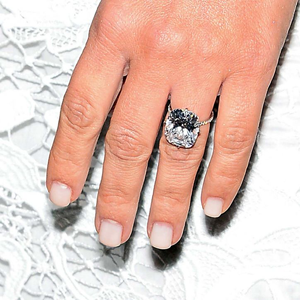 A close-up of her humongous ring from Kanye