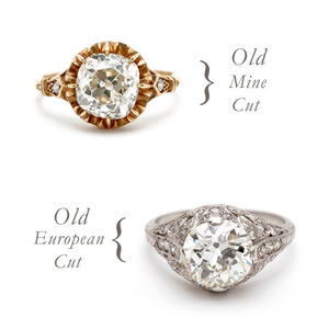 Old Mine Cut Diamond and Old European Cut Diamond