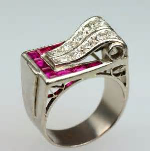 Retro period diamond and ruby ring