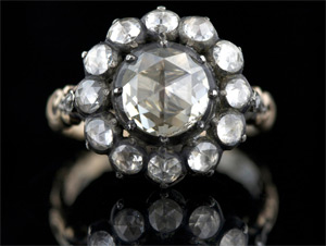 Antique rose cut diamond ring