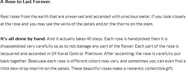 Gold Dipped Rose Info