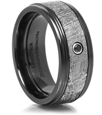 Men's wedding band with black diamond