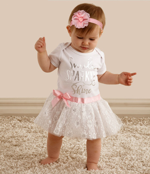 Baby Ganz Diaper Shirt Dress Smile Sparkle Shine