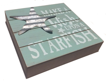 Ganz Box Plaque Make a Wish Upon a Starfish Costal Sign