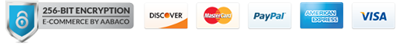 256-BIT Encryption. Secure Shopping. We accept Discover, MasterCard, PayPal, AmericanExpress, and Visa.