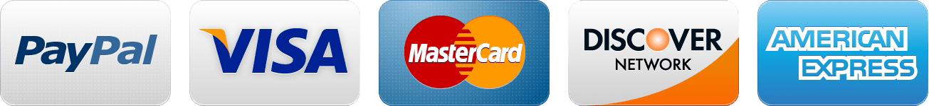 Visa, Master Card, Discover, Amex, PayPal Accepted