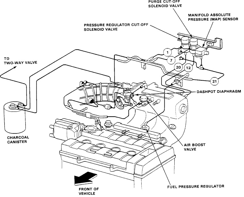 90-91 Integra B18A1 Vacuum Diagram (with dashpot valve)