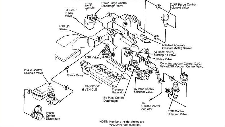 92-95 Prelude H22A and H23A Vacuum Diagram