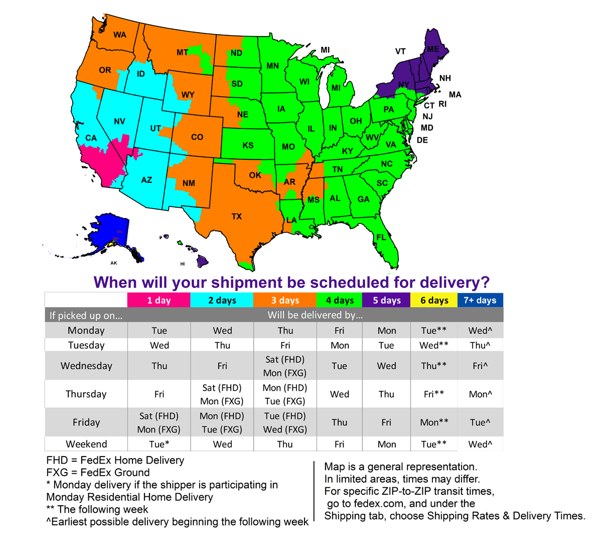 Shipping Information  - click to enlarge