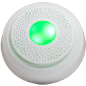 Honeywell Lyric SiXSIREN Wireless Alarm Siren Front View with Green Light