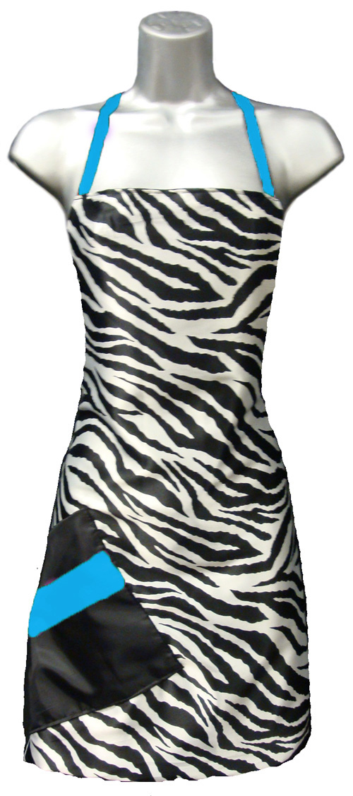 hair salon apron zebra print blue
