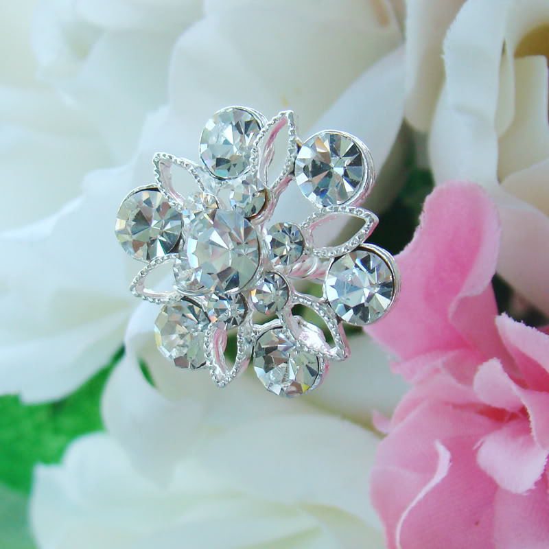Wedding Bouquet Crystal Flowers: Crystal Bouquet Jewelry BQ 211 Silver Or Gold