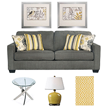 Designer Select Contemporary Yellow Living Room Suite