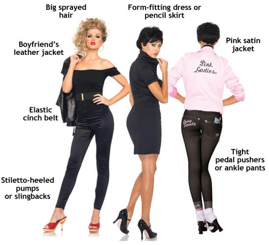 women's sexy grease costume