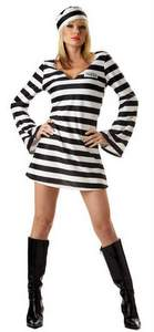 sexy striped prisoner dress costume