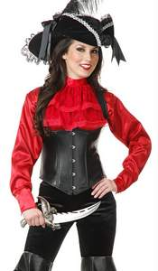 red satin ruffled pirate shirt