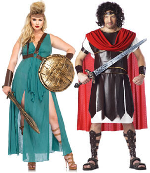 greek warrior god and goddess plus size couple costumes