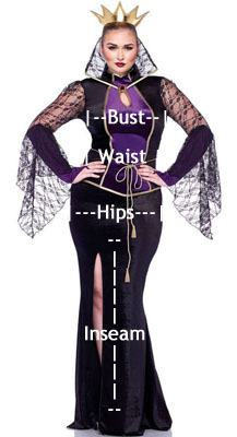 how to measure plus size women's costumes