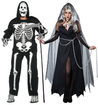 grim reaper and skeleton plus size couple costumes