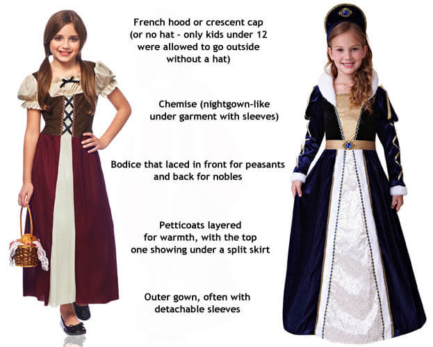 girls renaissance peasant and noble costumes