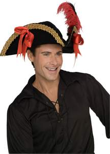 fancy pirate hat with ribbon and feather