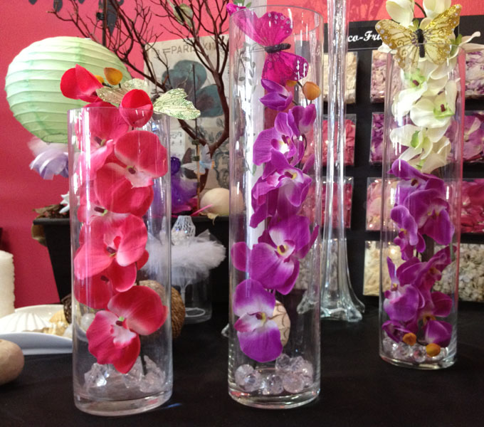 Artificial orchid silk flowers centerpiece decoration each stem comes with 10 or more flowers these artificial silk orchids come in 3 colors while purple and fuchsia and are 28 long with the stem being mightylinksfo