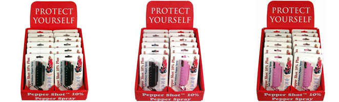 pepper shot display, pink, black, and mixed