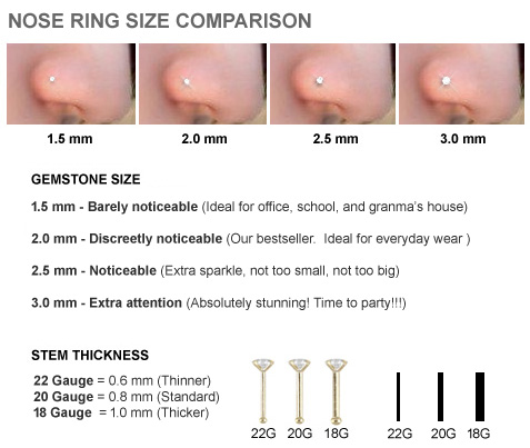 Nose Ring Size Chart