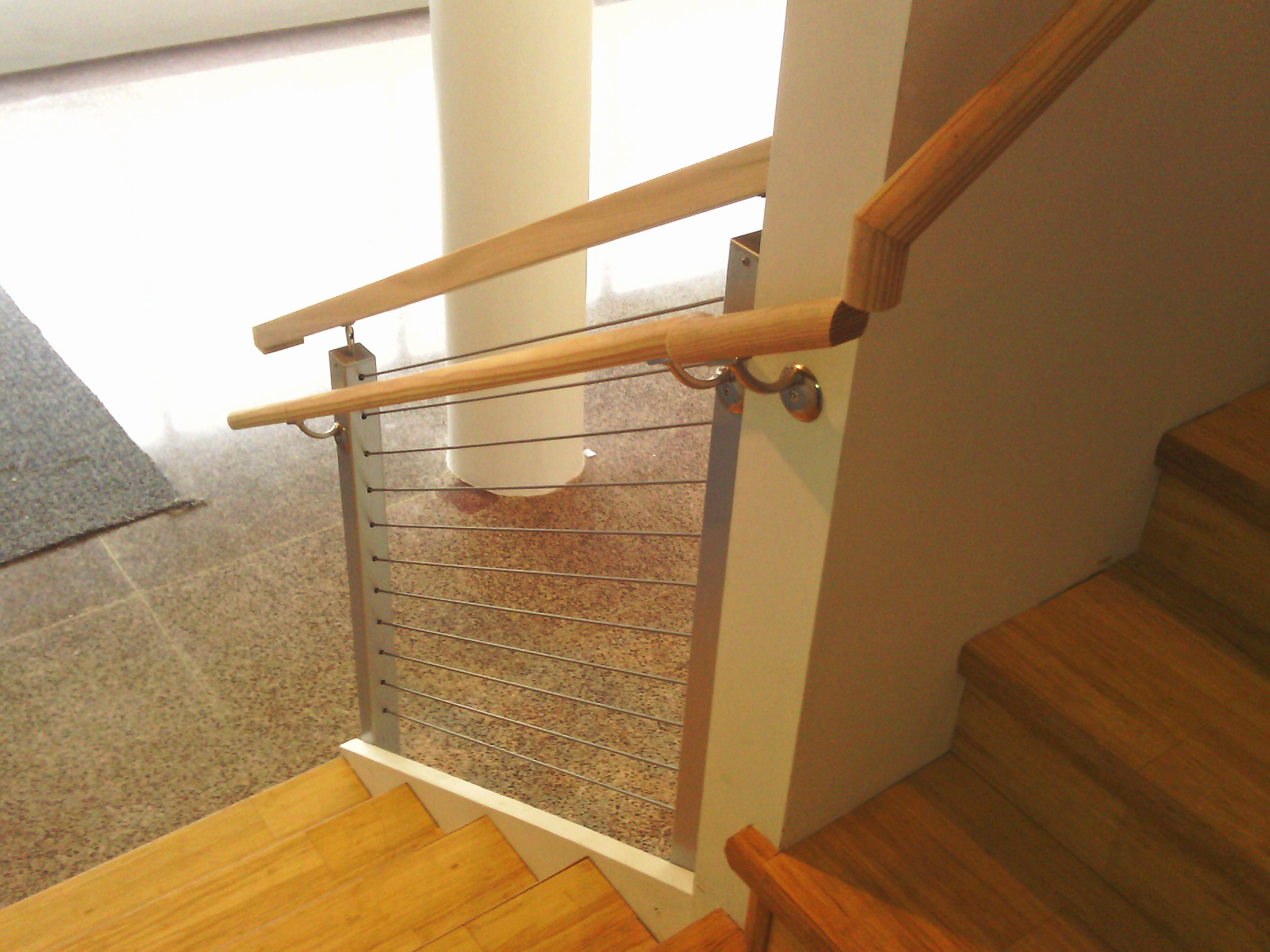 natural aluminum stair cable railing idea