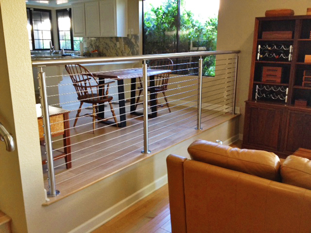 round stainless steel indoor cable railing idea