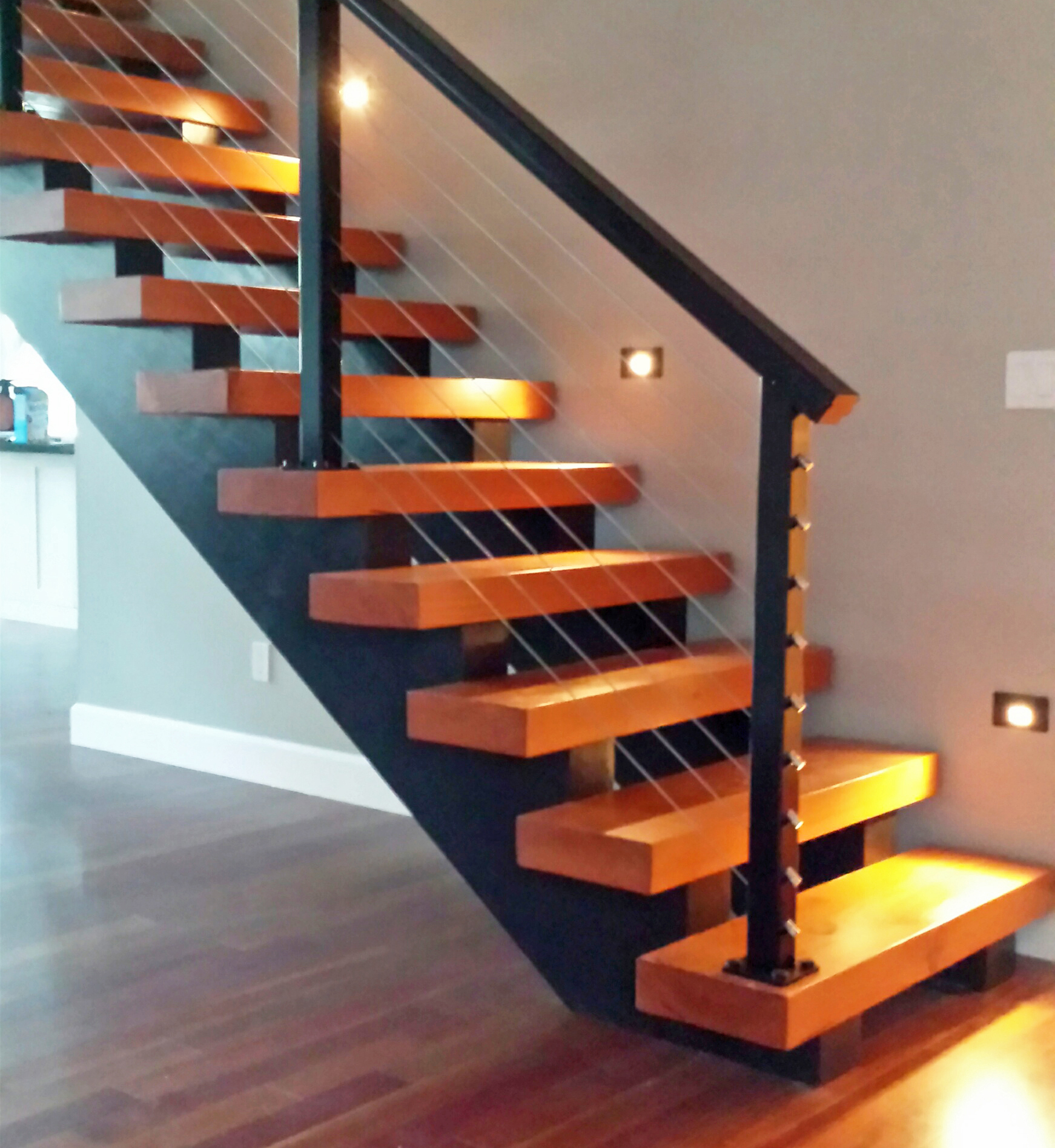 Black Aluminum Stair Railing With Wall Lighting