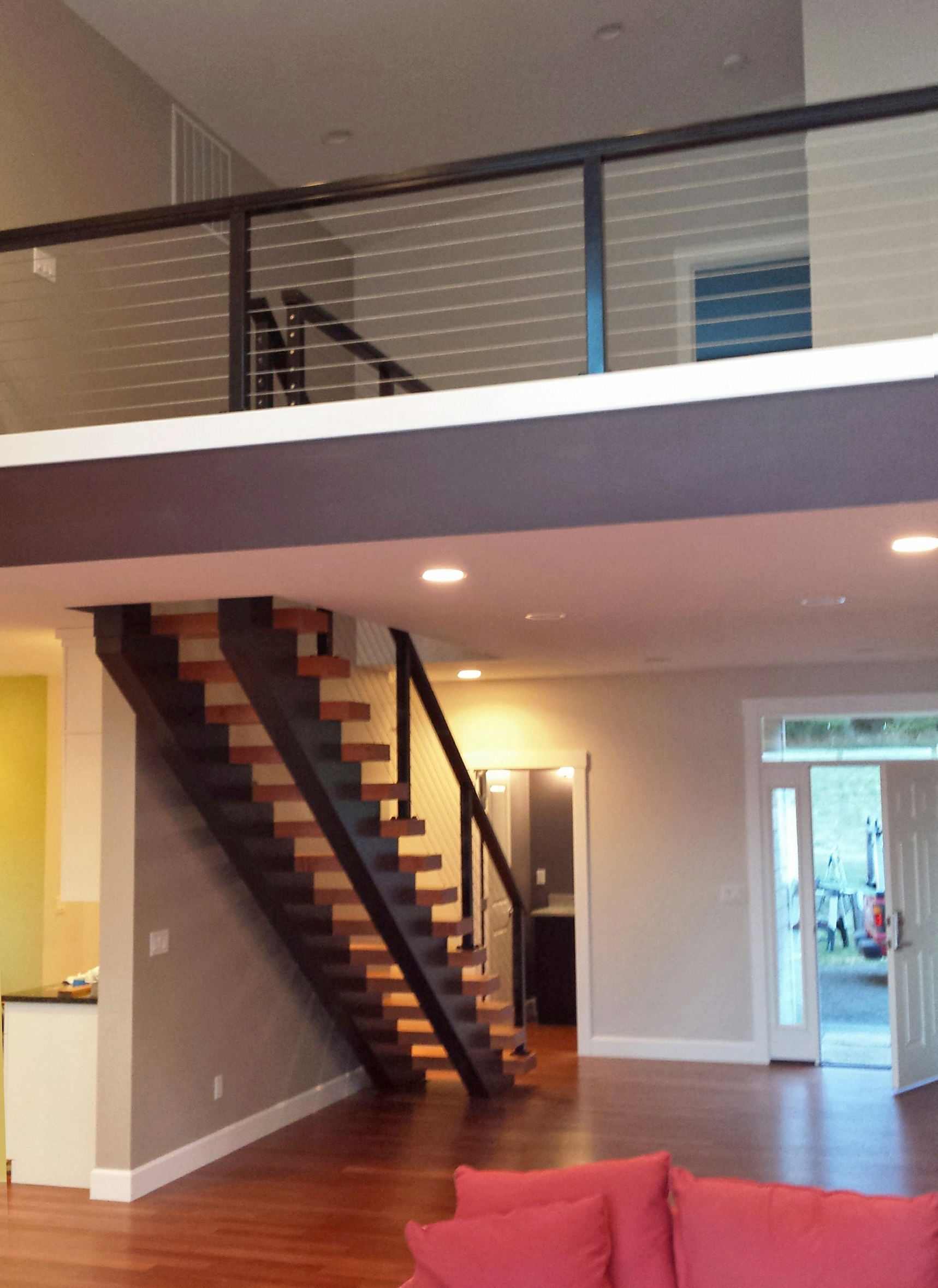black aluminum loft cable railing idea