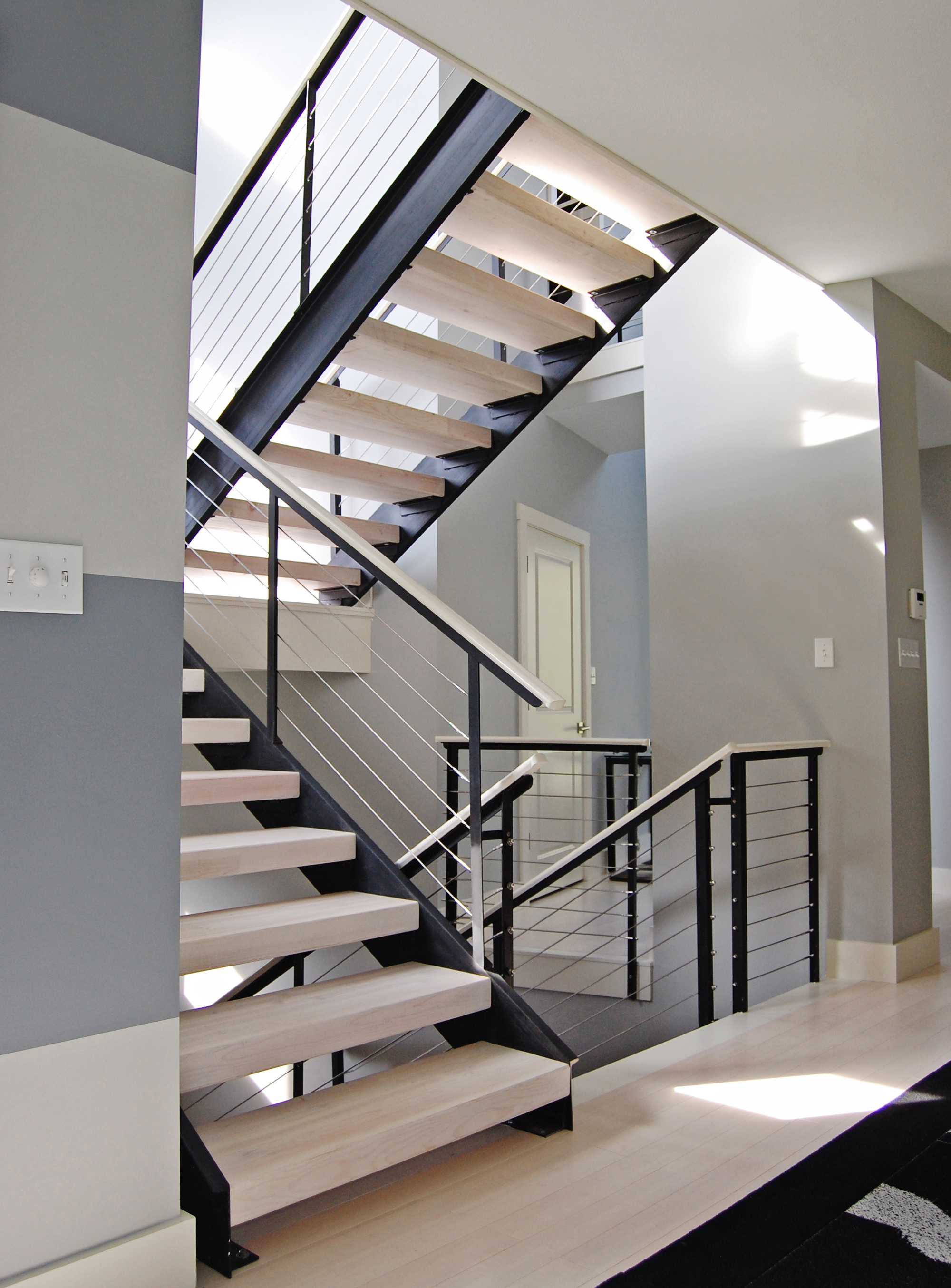 Stair Railing Ideas Cable Infill Ings For Stylish Contemporary Stairway