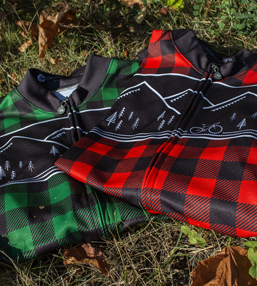 Red and green plaid lumberjack fleece bike jerseys
